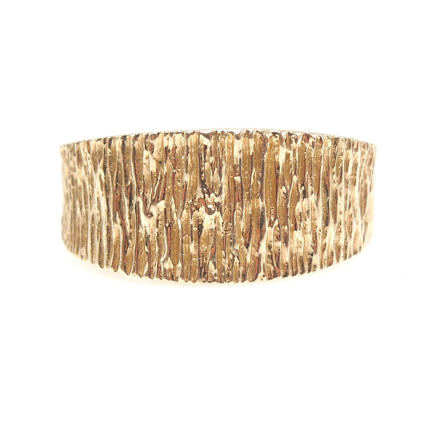 Midcentury Style Ridged Yellow Gold Tapered Wide Band