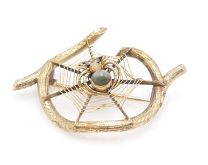 14K Yellow Gold and Cat's Eye Chrysoberyl Spider and Web on Wood Brooch Pin