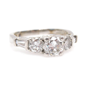 1940s Platinum and Diamond Engagement Ring with Tapered Baguettes