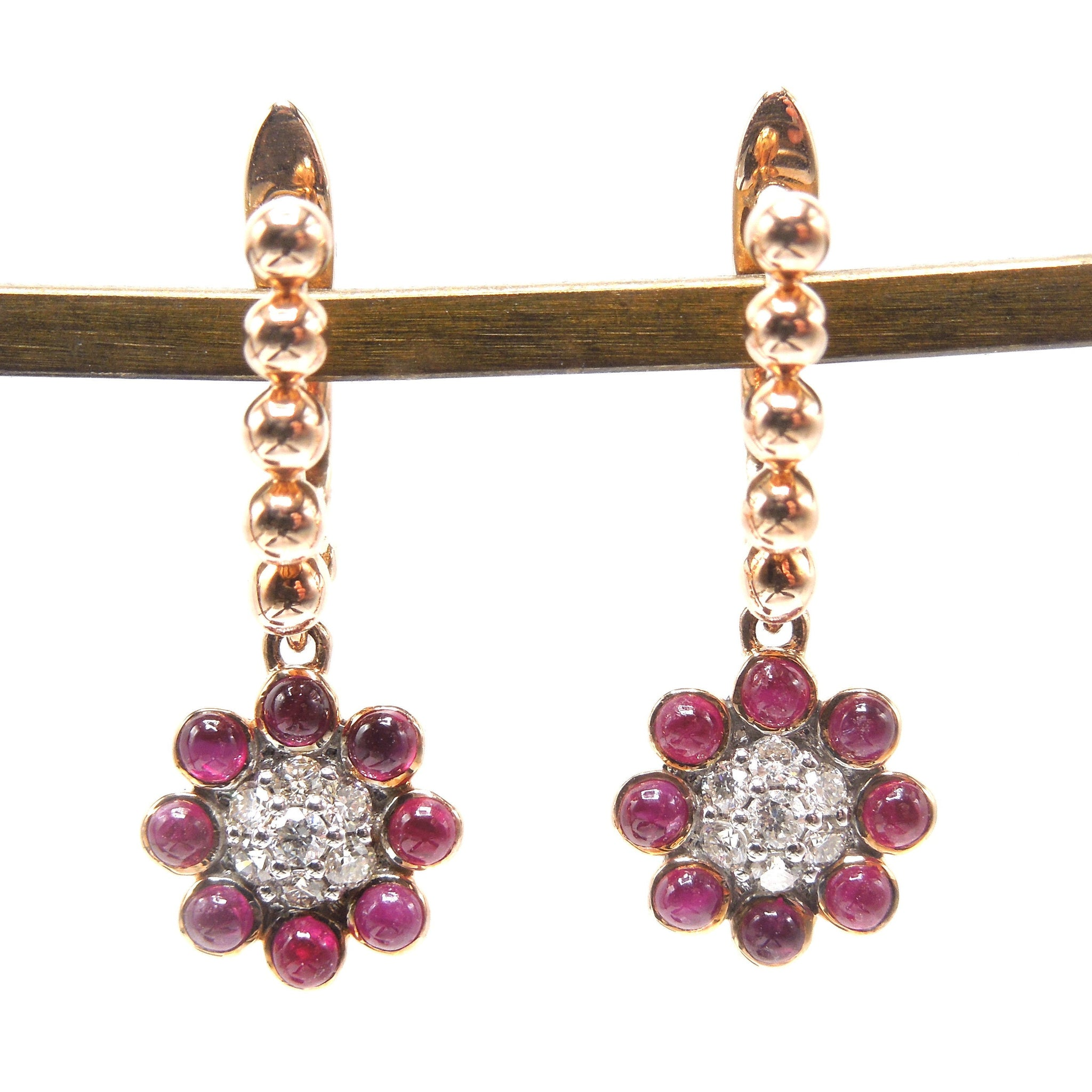 14K Rose Gold Diamond and Cabochon Ruby Flower Drop Earrings