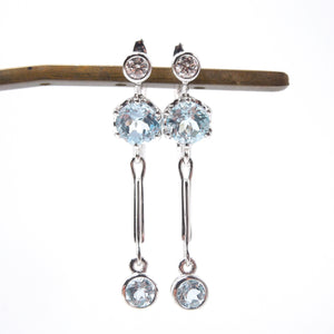 Estate Diamond and Blue Topaz Drop Earrings in White Gold