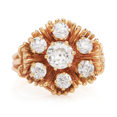 2.0ct European Cut Diamond Floral Cluster Ring in 14K Yellow Gold