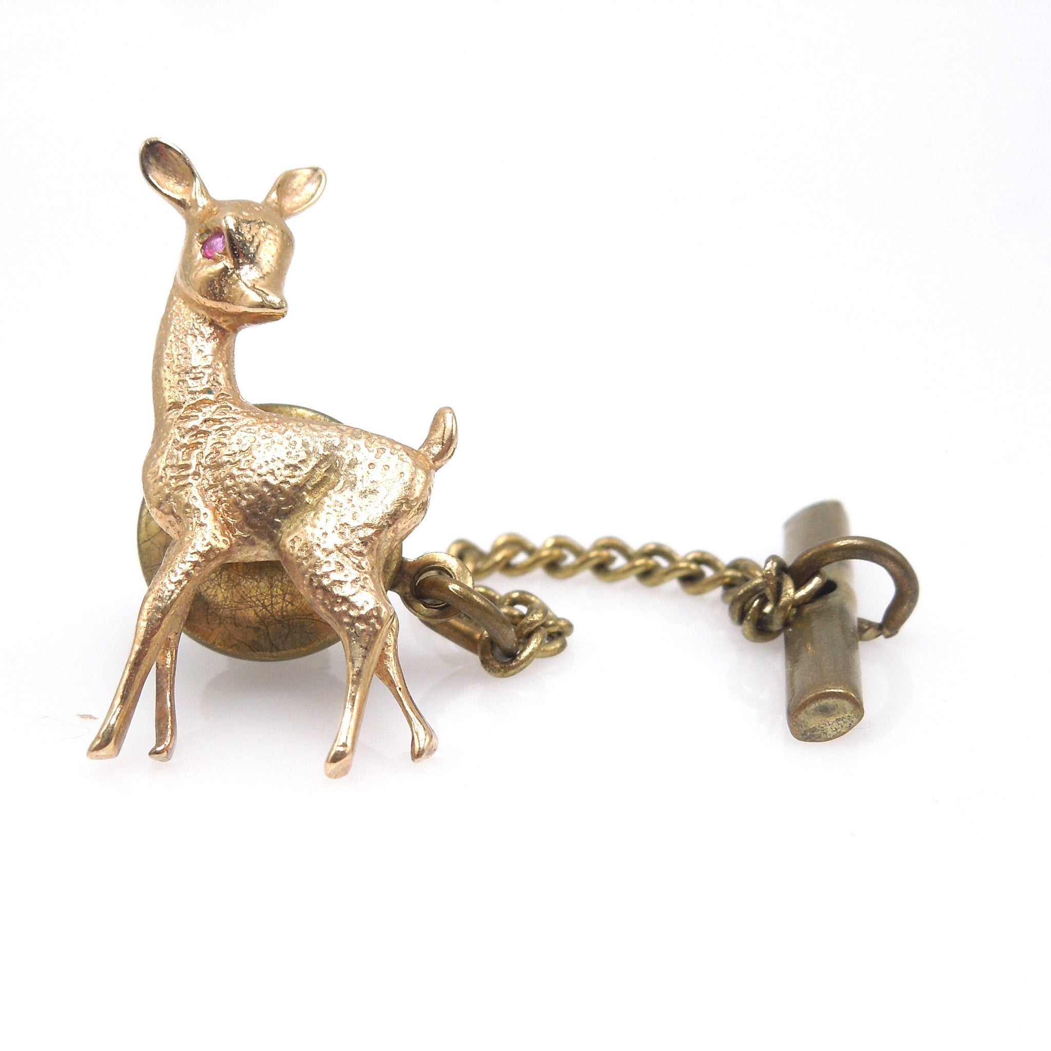 14K Yellow Gold Deer Pin with Ruby Eye