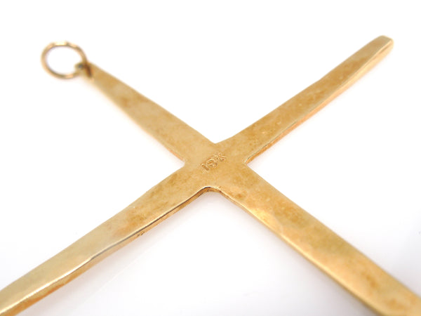 18K Yellow Gold Hand Wrought Cross Pendant