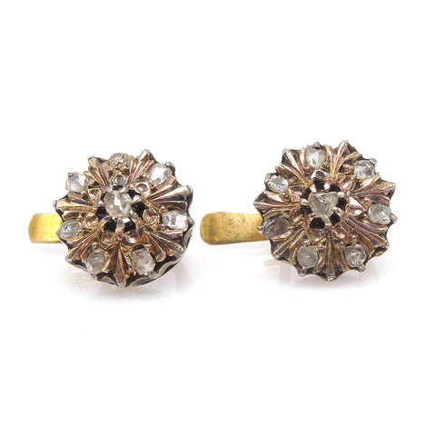 Victorian Yellow Gold and Rose Cut Diamond French Back Stud Earrings