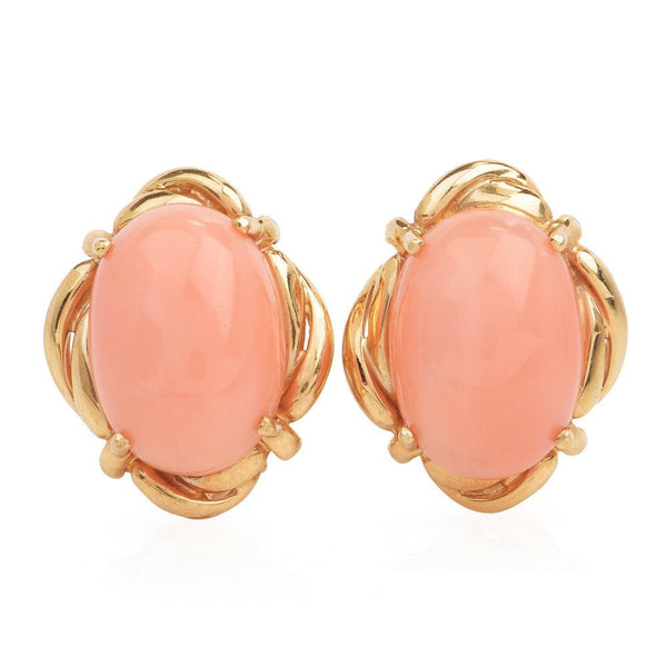 12.00ct Angel Skin Coral and Yellow Gold Lever Back Earrings