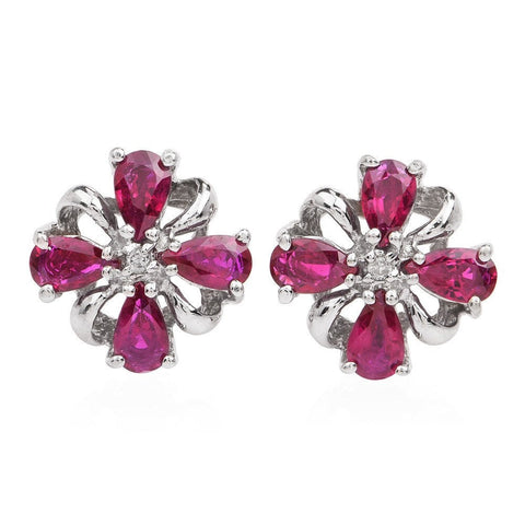 Diamond & Ruby 14K Gold Floral Motif Stud Earrings with Push Backs for Pierced Ears