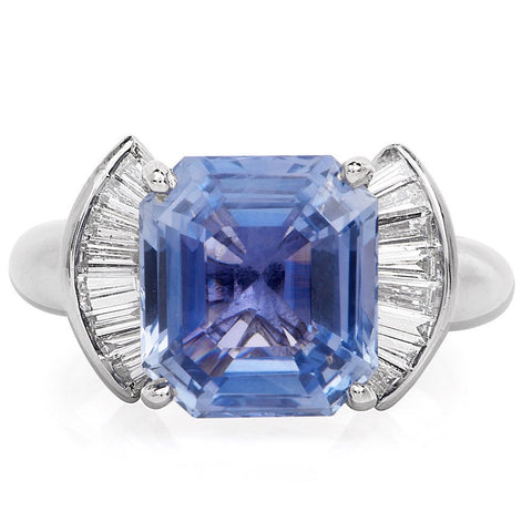 Natural Unheated 6.11ct Emerald Cut Blue Sapphire and Baguette Diamond Ring in Platinum