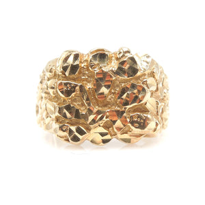 Large Gents Nugget Style Yellow Gold Ring - Size 10.5