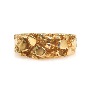 8.5mm Wide Gents Nugget Style Yellow Gold Ring - Size 9