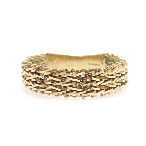 10K Yellow Gold Modern Braided Gents Band with Overlapping Gold Wire - 6mm