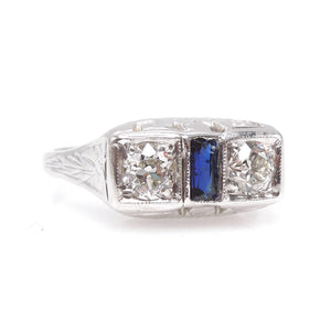 Art Deco White Gold Two Diamond and Sapphire Engagement Ring