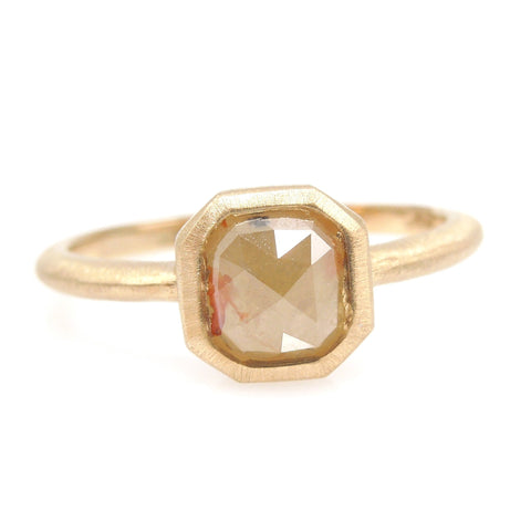 1.46ct Orangish Yellow Radiant Cut Rose Cut Diamond in Brushed 14K Yellow Gold