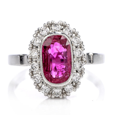 GIA Certified Unheated Oval Ruby & Diamond Platinum Halo Cocktail Ring
