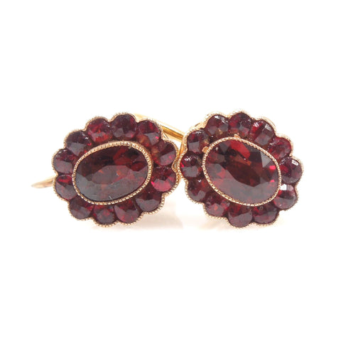 Victorian Style Bezel Set Garnet Halo Gold Fill Screwback Earrings