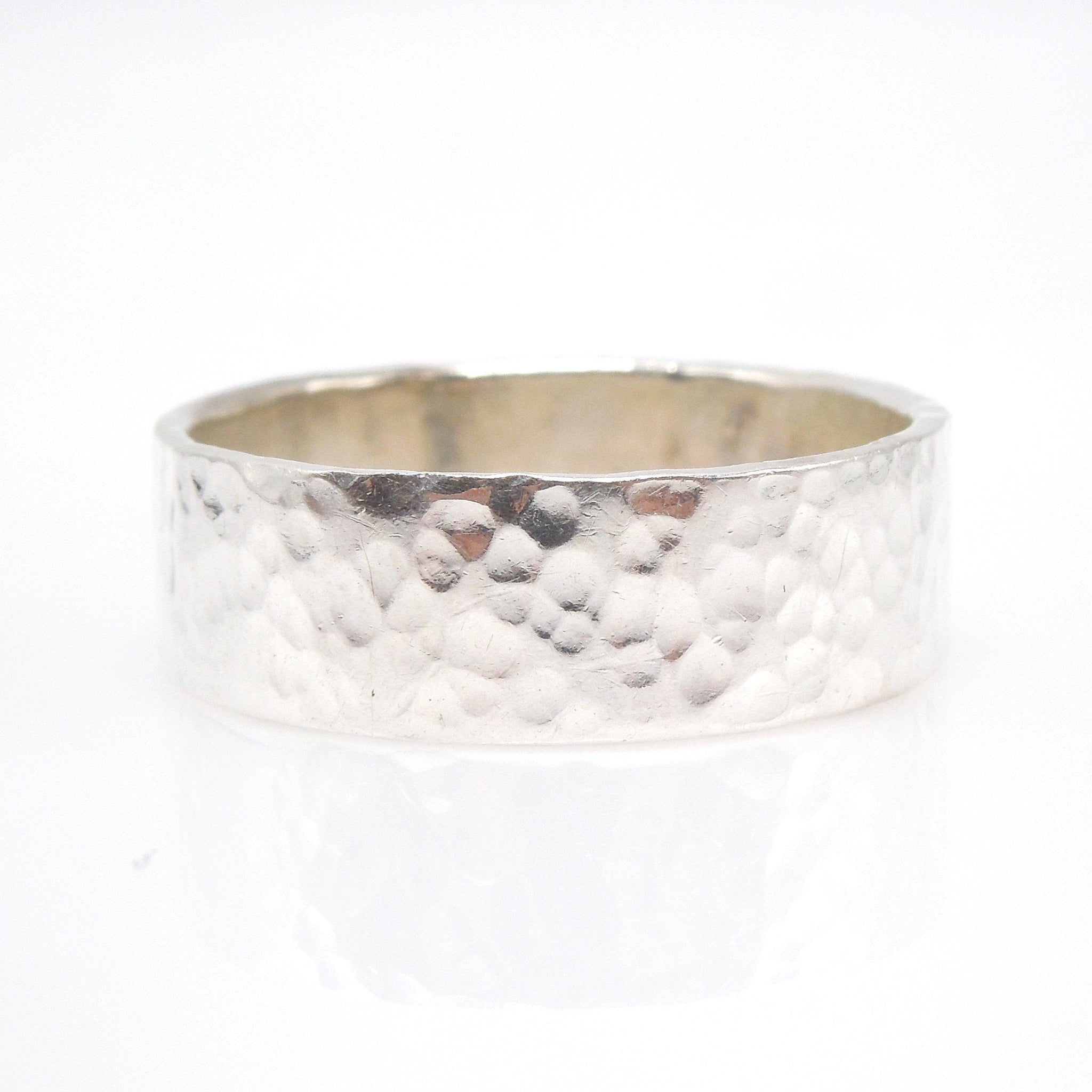 Hammered Wide Sterling Silver Man's Wedding Band