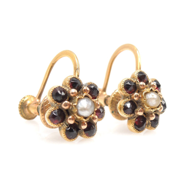 Victorian Style Garnet and Seed Pearl Flower Gold Fill Screwback Earrings