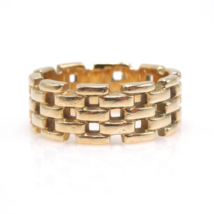 Wide 14K Yellow Gold Geometric Gear Chain Open Band