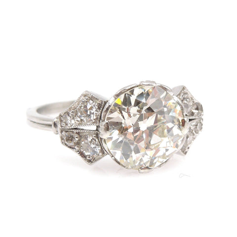 2.19 carat GIA Old European Cut Edwardian Diamond Engagement Ring in Platinum