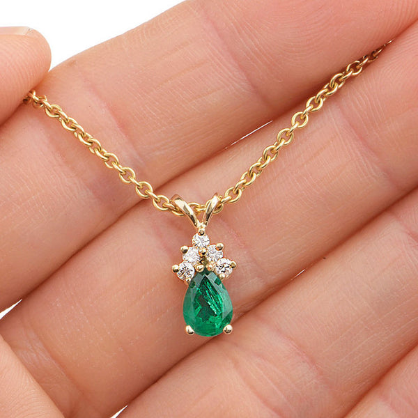 Dainty Estate Yellow Gold Diamond and Pear Shaped Emerald Pendant