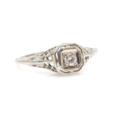 Petite Art Deco Diamond Ring in 14K White Gold with Filigree