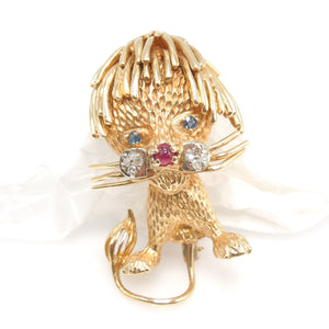 Yellow Gold Stylized Lion Brooch with Ruby Nose, Sapphire Eyes, and Diamond Muzzle