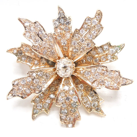 Victorian Starburst Flower Brooch in Yellow Gold with Diamonds