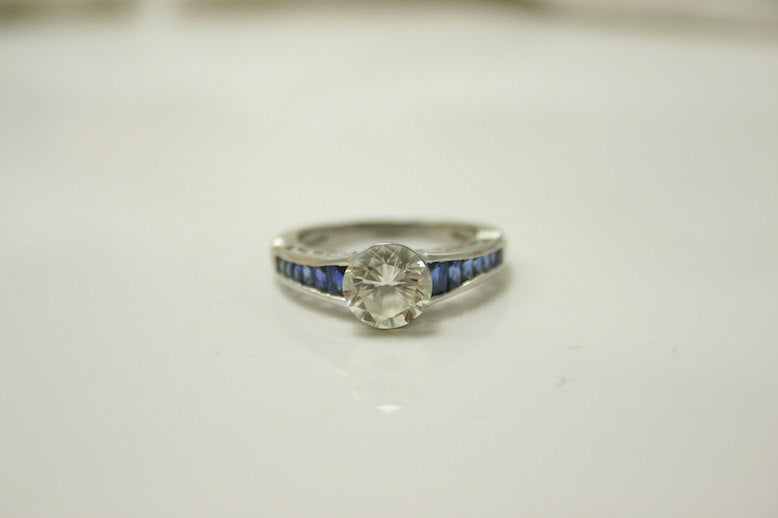 Deco Style Diamond and Sapphire Ring in Platinum