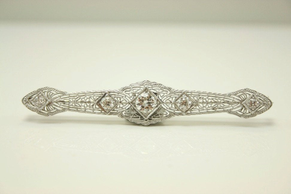 Deco White Gold and Diamond Brooch