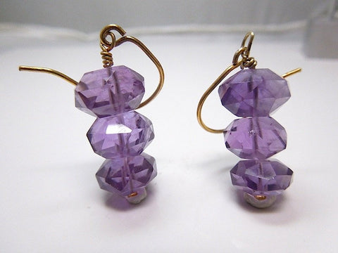 Gold Vermeil and Faceted Amethyst Bead Hook Earrings