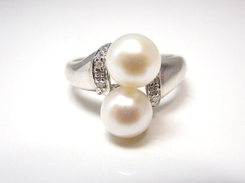 1960's Vintage Double Pearl Ring - White Gold - Diamond