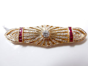 Beautiful Estate Deco Style Diamond, Ruby, and Yellow Gold Brooch