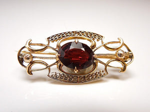 Edwardian Garnet and Gold Pin/Pendant