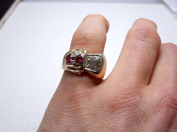 Retro Natural Fancy Yellow  Diamond and Rubellite Gentleman's Ring
