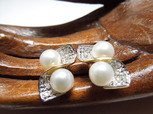 Classic Pearl, Diamond and White & Yellow Gold Earrings