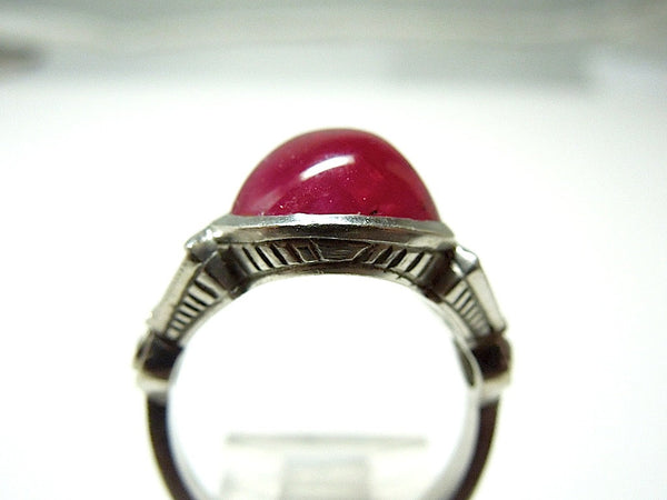 Cabachon Ruby, Diamond and Platinum Ring