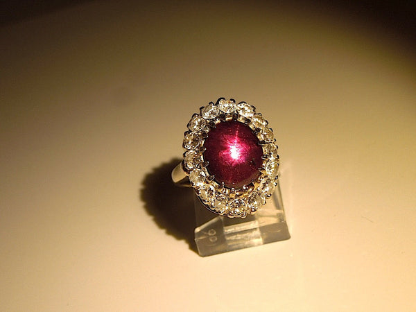 Six Carat Star Ruby - Surrounded by Diamonds - Classic Cocktail or Right Hand Ring
