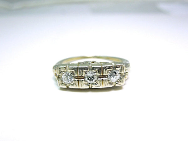 Three Stone White Gold Band