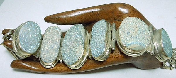 Sterling Silver and Oval Geode Bracelet