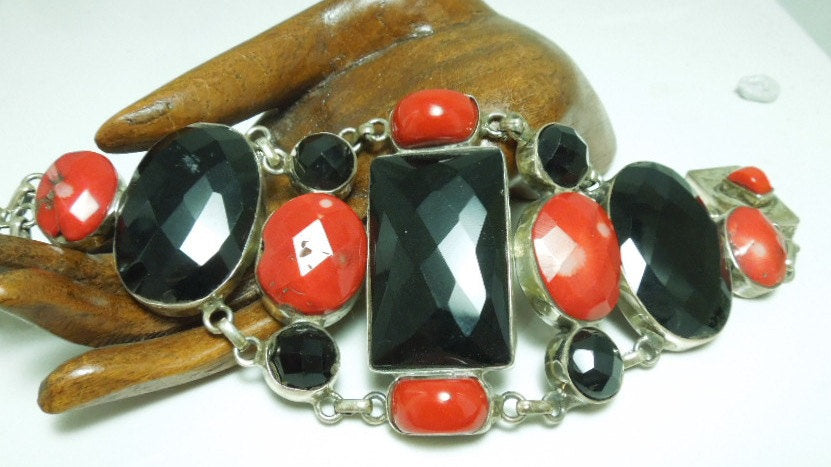 Onyx and Red Coral Web Bracelet