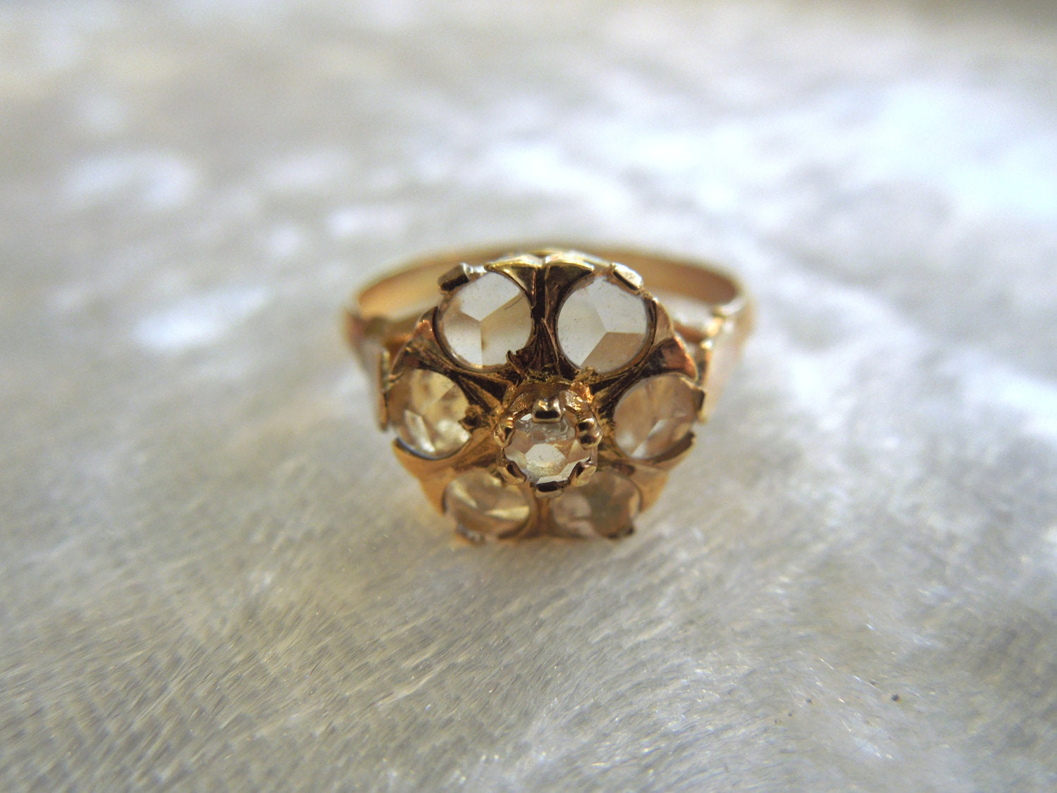 Spanish Antique style White Sapphire Cluster in Vermeil