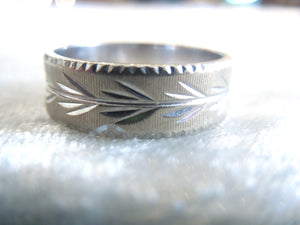 6mm 1950s 14K White Gold Engraved and Milgrained Wedding Band