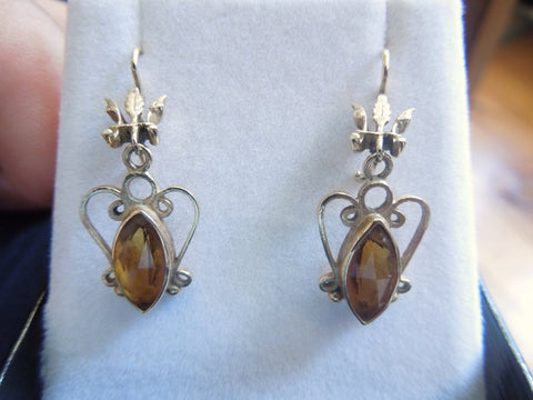 Victorian Marquis Bezel Set Citrine and 14K Gold Earrings