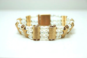 Lucien Piccard Designer Vintage White Pearl and Brushed Gold Bracelet