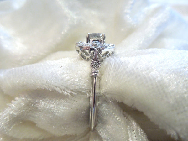 CUSTOM ORDER: Old European Cut Diamond in  Exquisite White Gold Art Deco Style Halo Mounting
