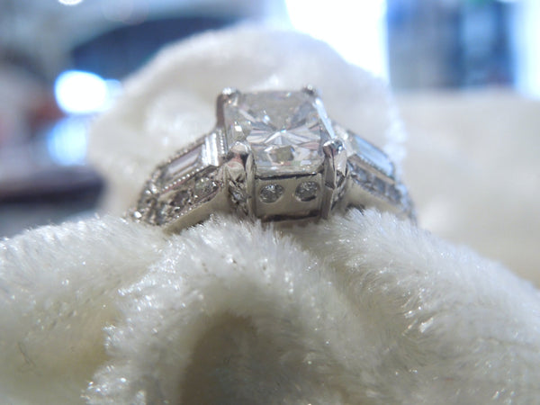 1.5 Carat Radiant Cut Diamond Art Deco Style Ring in Platinum