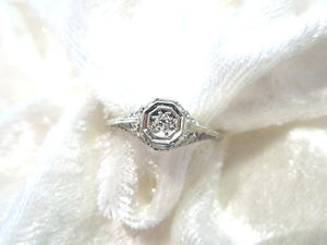 Art Deco Style 14K White Gold Diamond Filigree Ring