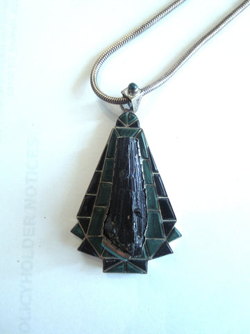Onyx, Malachite, and Moldavite Sterling Silver Pendant