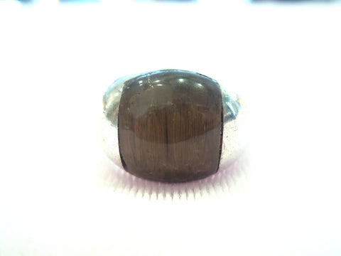 Sterling Silver Inlaid Tigers Eye Men's Ring