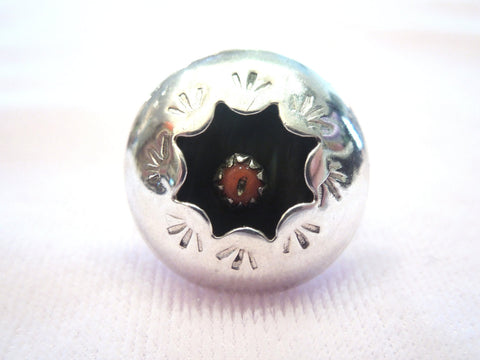 Sterling Silver Navajo Coral Ring